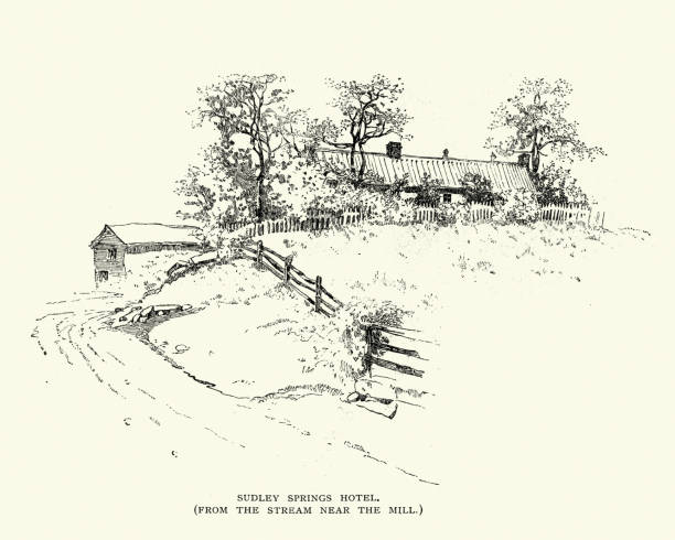 Sudley Springs Hotel, at the Battle of Bull Run vector art illustration