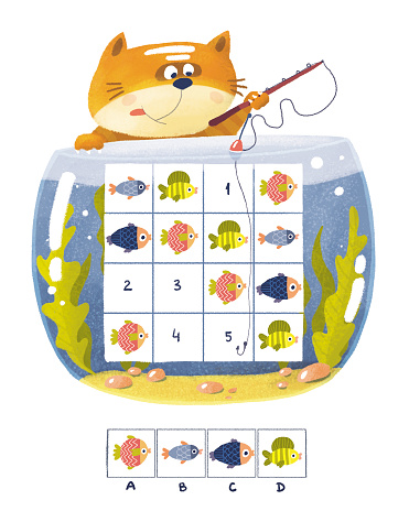 Sudoku for kids. A ginger cat is fishing in an aquarium of colorful fish.
