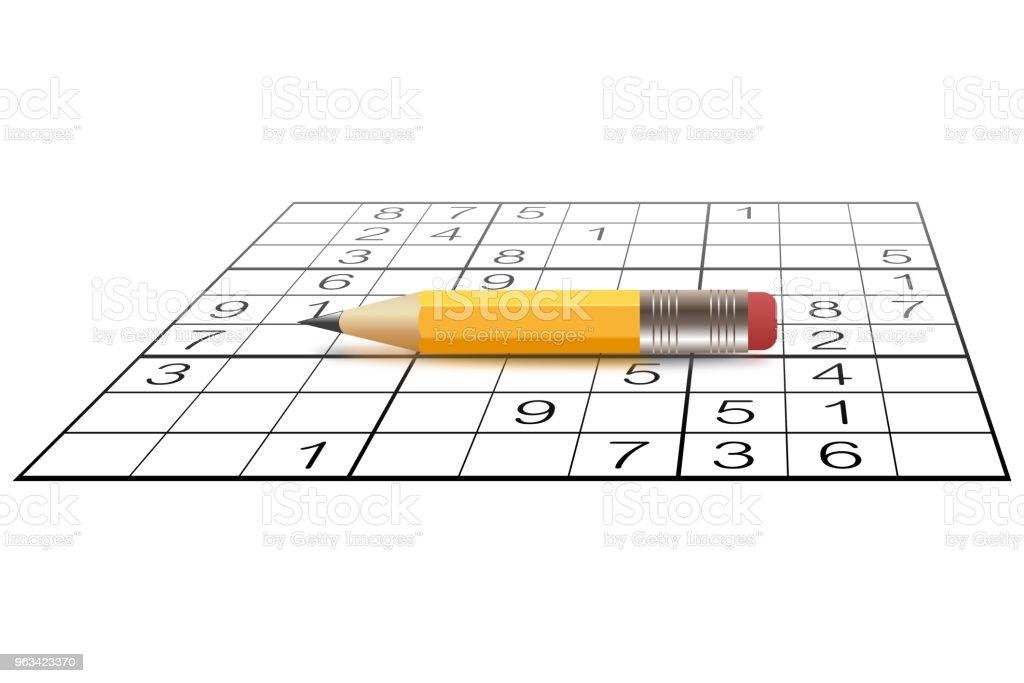 Sudoku gra i mały ołówek - Zbiór ilustracji royalty-free (Sudoku)