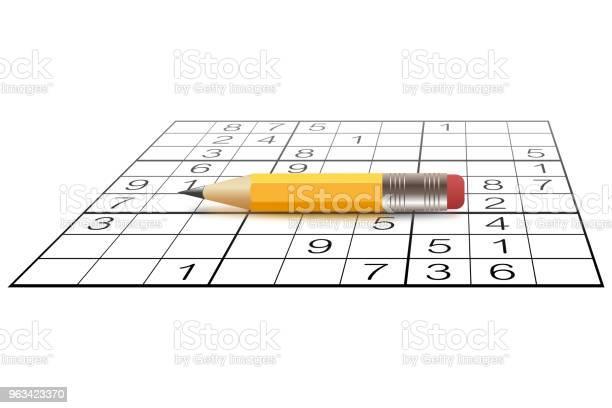 Sudoku Gra I Mały Ołówek - Stockowe grafiki wektorowe i więcej obrazów Sudoku