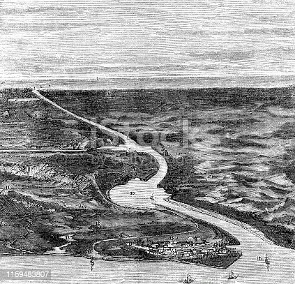 Engraving from 1873 showing the Suez Canal.