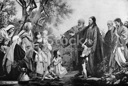 Suffer Little Children to Come Unto Me by Julius Schmid (circa 19th century). Vintage etching circa late 19th century.