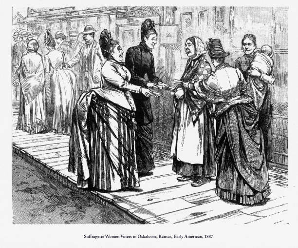 Suffragette Women Voters in Oskaloosa, Kansas, Early American Engraving, 1887 Beautifully Illustrated Antique Engraved Victorian Illustration of Early American Suffragette Women Voters in Oskaloosa, Kansas, 1887. Source: Original edition from my own archives. Copyright has expired on this artwork. Digitally restored. women's suffrage stock illustrations