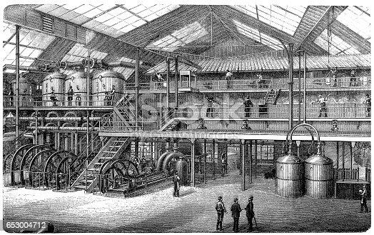 Antique illustration of a Sugar factory