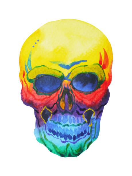 死んだ人間の頭水彩画デザイン イラスト手描きのシュガー スカル日 ベクターアートイラスト
