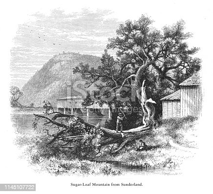 Very Rare, Beautifully Illustrated Antique Engraving of Sugarloaf Mountain from Sunderland, Connecticut River, Valley of the Connecticut, Massachusetts, United States, American Victorian Engraving, 1872.