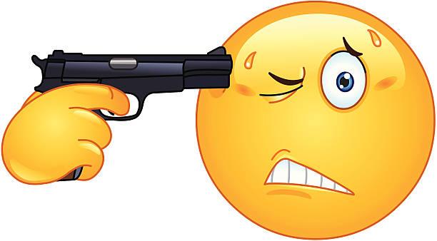 selbstmord emoticon - kopfschüsse stock-grafiken, -clipart, -cartoons und -symbole