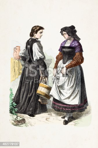 istock Suisse farmer women with traditional clothing from 19th century 452779137