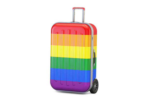 Suitcase with rainbow gay flag, 3D rendering vector art illustration
