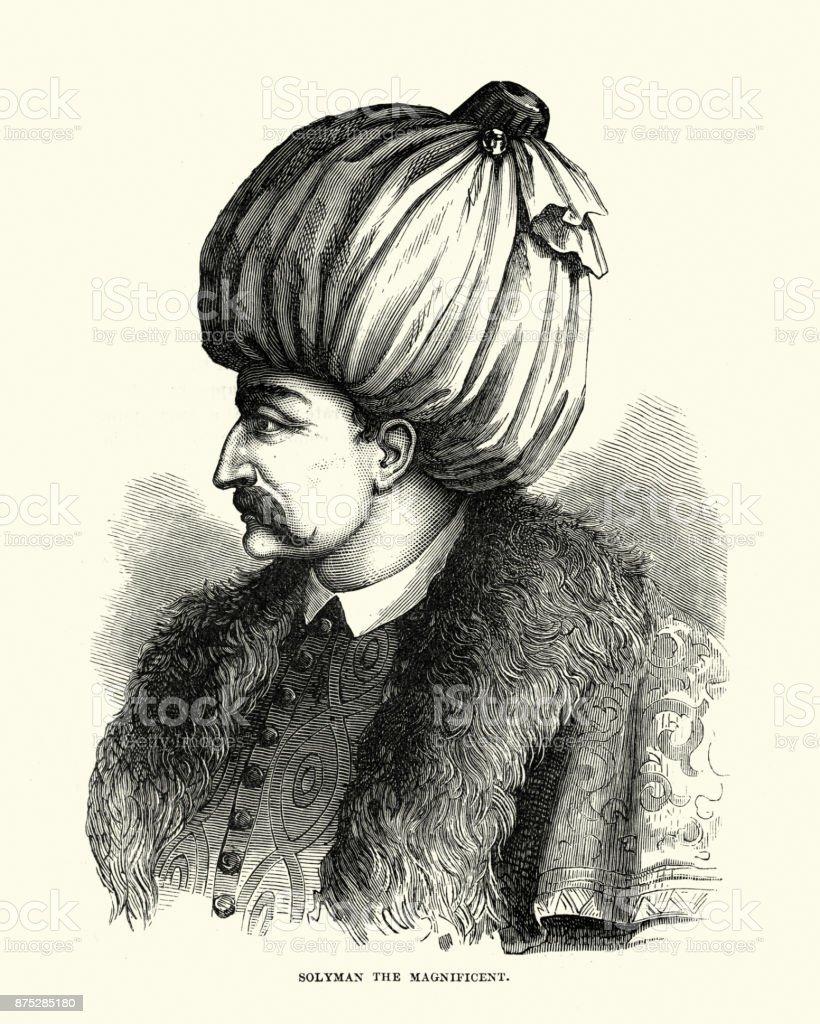 Suleiman the Magnificent, sultan of the Ottoman Empire vector art illustration