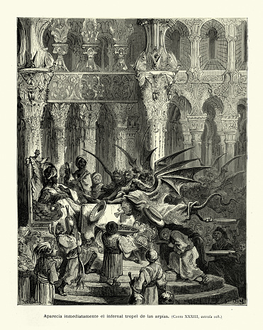 Sultan doing a deal with devils and harpies, Medieval fantasy