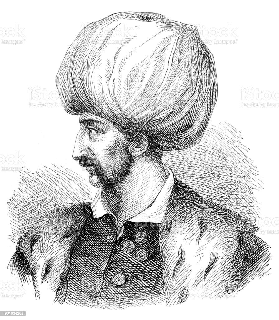 Sultan Suleiman I of the Ottoman Empire portrait illustration 1882 vector art illustration