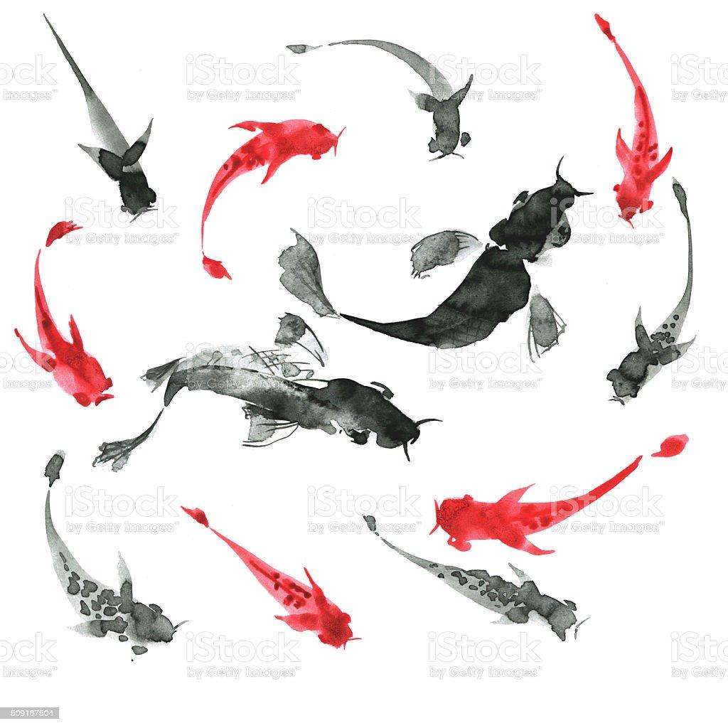 Sumi-e a mano libera pesci, bianco e nero. Giappone tradizionale stili - illustrazione arte vettoriale
