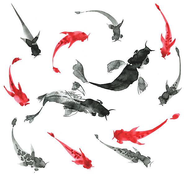 Sumi-e main dessinée de poissons, noir et blanc. Style japonais traditionnel - Illustration vectorielle
