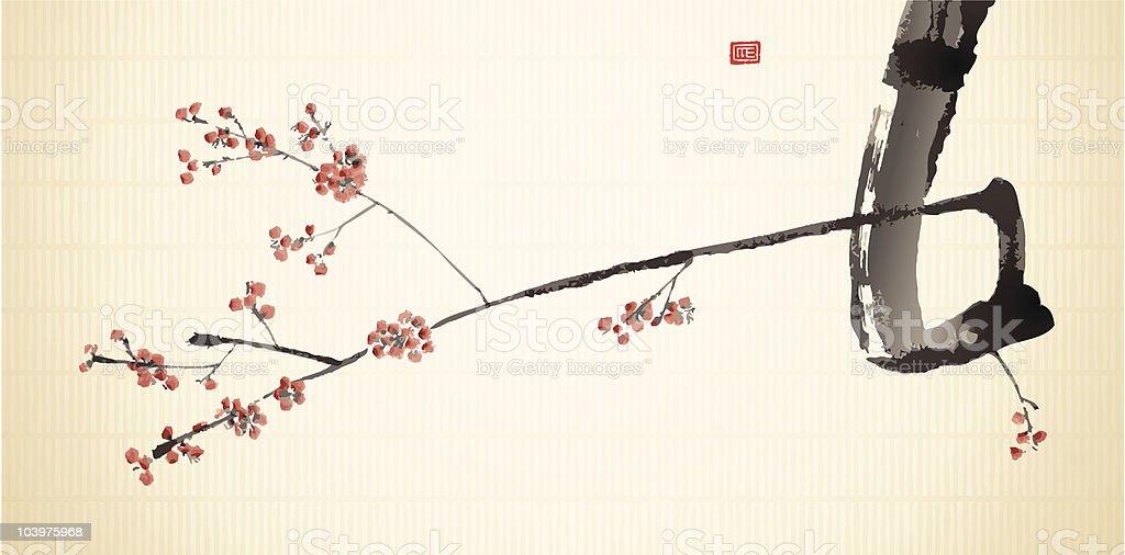 Sumi-e Plum Blossom Branch vector art illustration