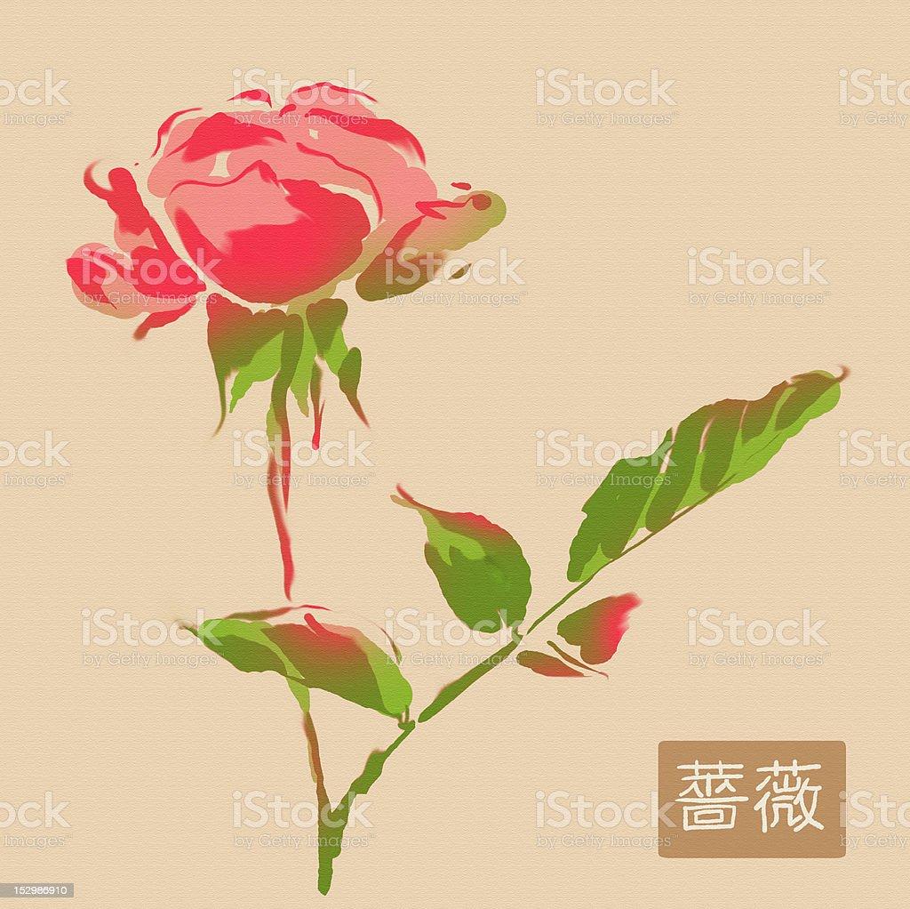 sumi-e rose royalty-free stock vector art