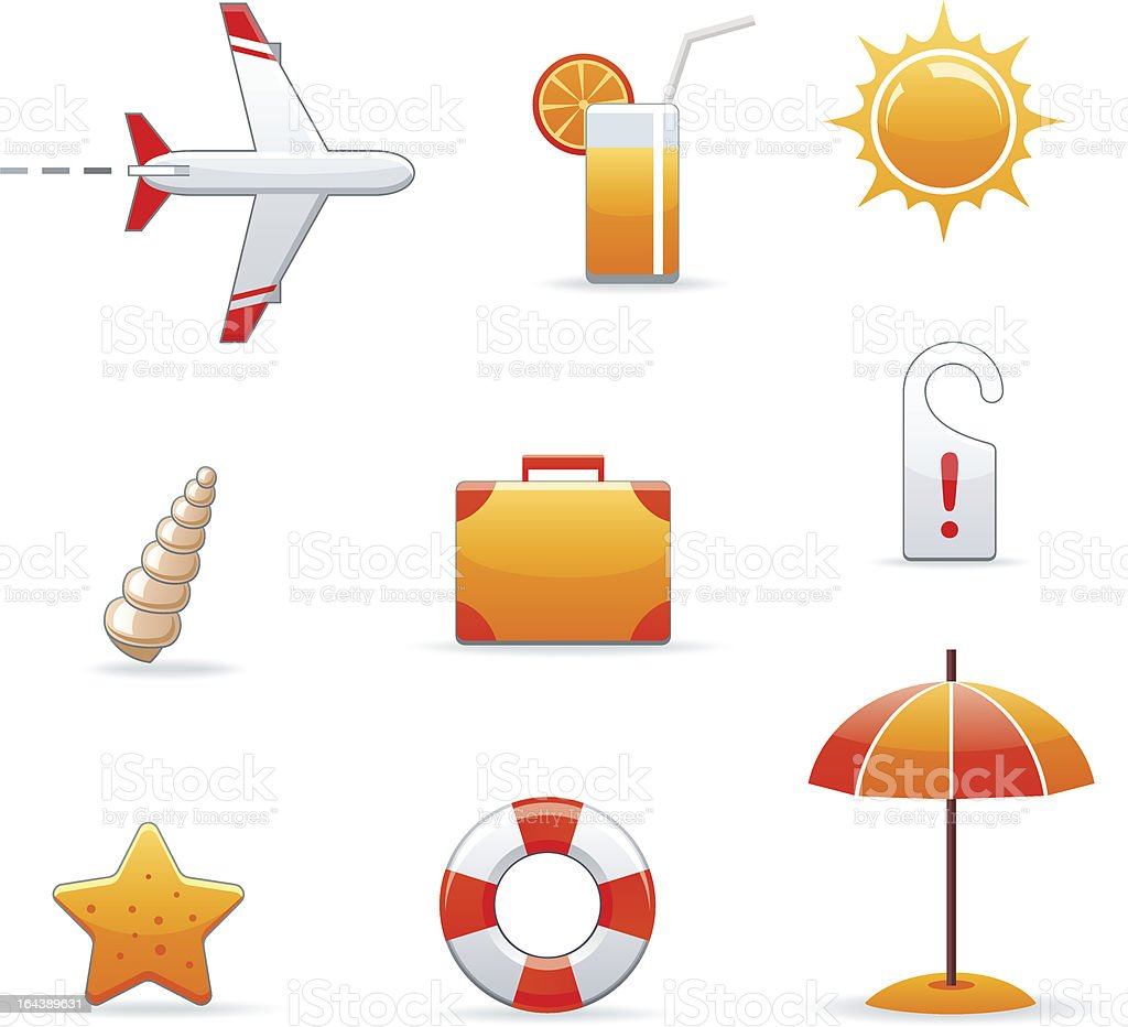 summer and travel icon set royalty-free stock vector art