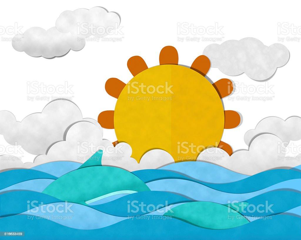 Summer at Sea vector art illustration