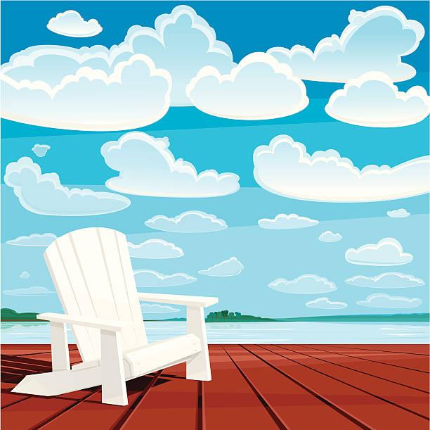 Summer Background (Muskoka Chair) White Muskoka chair on the deck. Summer time. Vector. EPS 8. adirondack chair stock illustrations