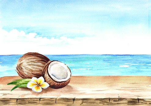 Summer background with coconut, empty table and sea. Watercolor hand drawn illustration