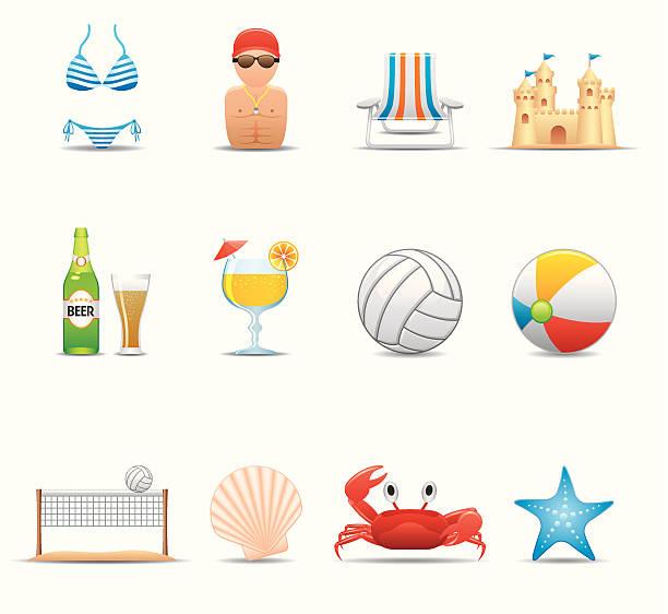 illustrazioni stock, clip art, cartoni animati e icone di tendenza di estate spiaggia & icona set/elegante serie - fruit juice bottle isolated
