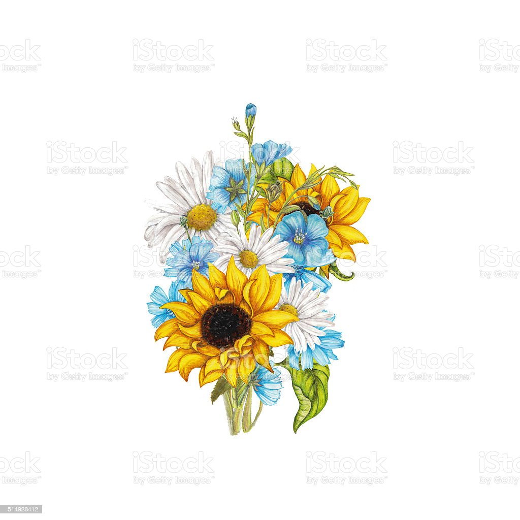 Summer bouquet vector art illustration