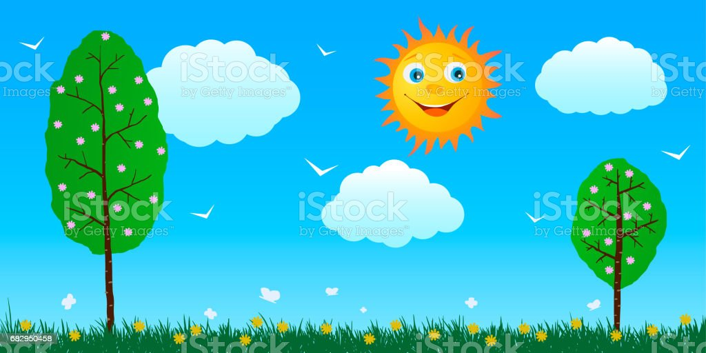 Summer. Cartoon smiling sun, clouds and birds, blossoming trees on the field with flowers and butterflyes. royalty-free summer cartoon smiling sun clouds and birds blossoming trees on the field with flowers and butterflyes stock vector art & more images of abstract