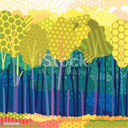 Illustration of an imaginary pop-art forest in summer colours created using flat colours