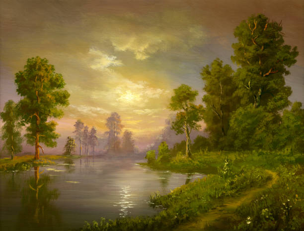 summer evening Painting, canvas, oil, created and painted by the photographer. impressionism stock illustrations