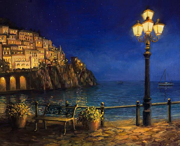 illustrazioni stock, clip art, cartoni animati e icone di tendenza di estate sera ad amalfi - amalfi