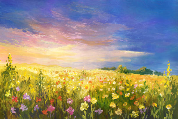 Summer evening landscape, oil painting Summer meadow, oil painting impressionism stock illustrations