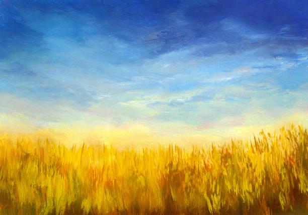 stockillustraties, clipart, cartoons en iconen met zomer veld, olieverfschilderij - wheat field