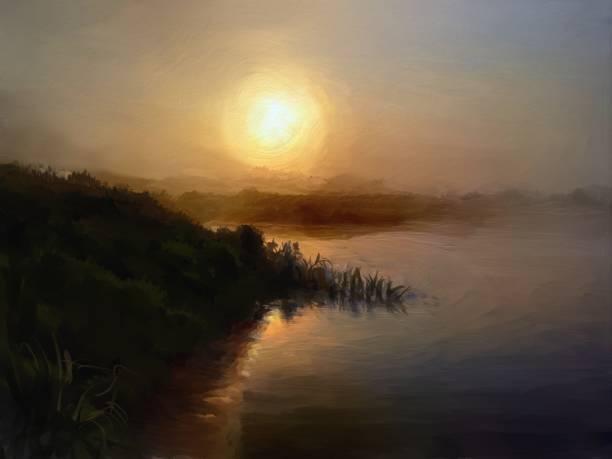 Summer foggy morning, oil painting vector art illustration