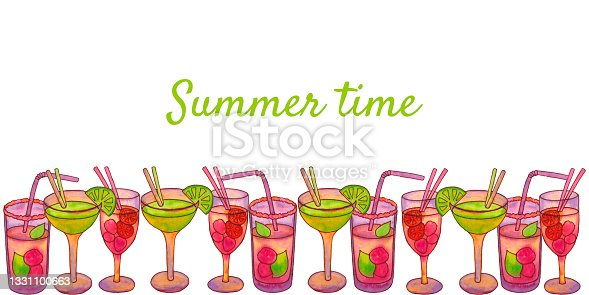 istock Summer frame banner with cocktails. Place for inscription. 1331100663