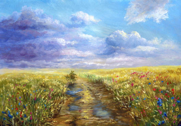 summer landscape after the rain, watercolor painting - oil painting stock illustrations
