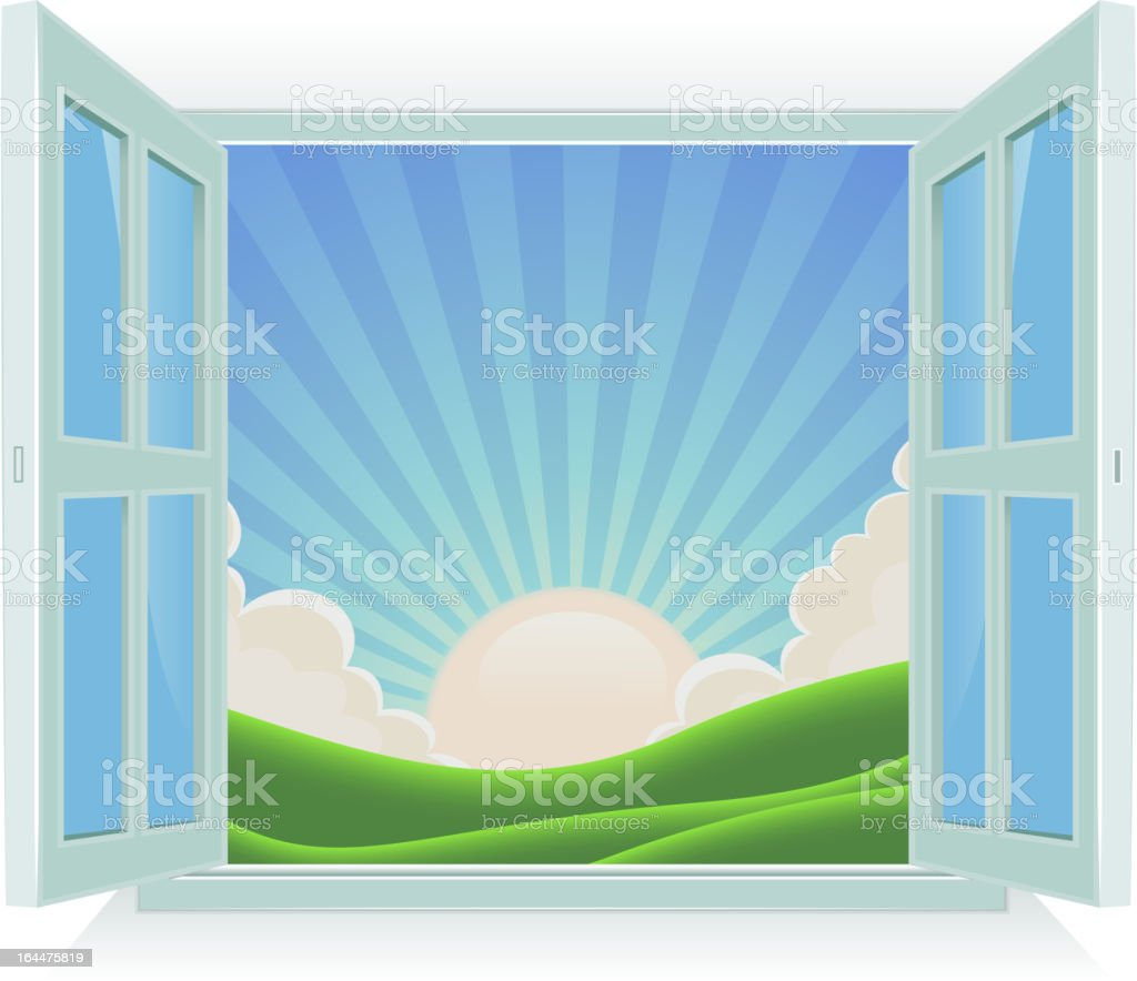 Summer Landscape Outside The Window vector art illustration