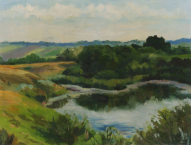 summer landscape with lake. oil painting - oil painting stock illustrations