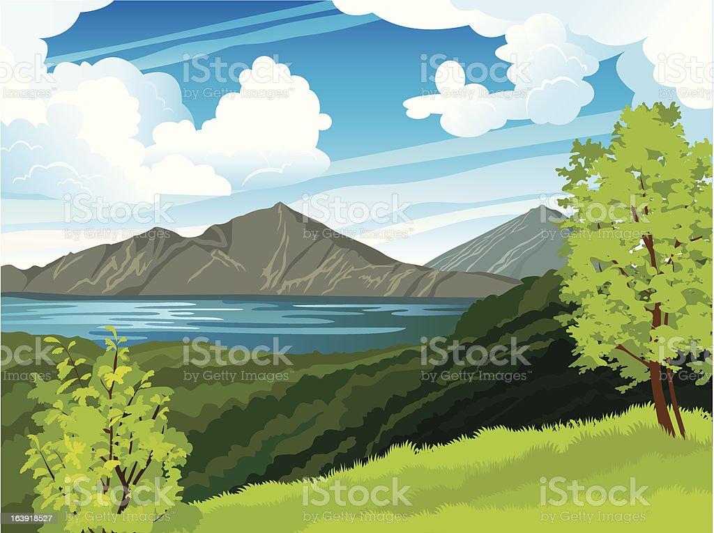 Summer landscape with volcano and lake Batur. Indonesia, Bali. vector art illustration