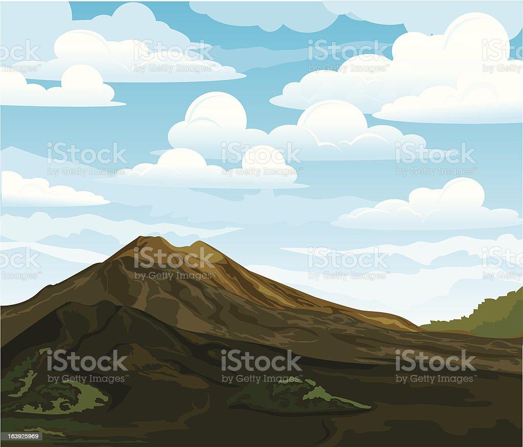 Summer landscape with volcano Batur vector art illustration