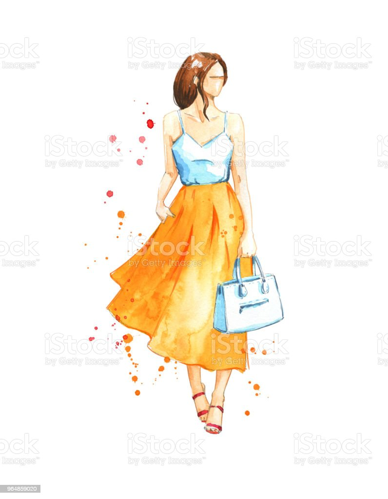 Summer look, watercolor fashion illustration royalty-free summer look watercolor fashion illustration stock vector art & more images of adult