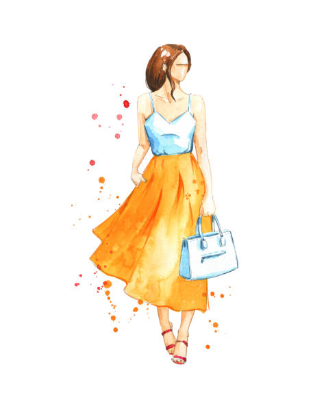 summer look, watercolor fashion illustration - summer fashion stock illustrations, clip art, cartoons, & icons