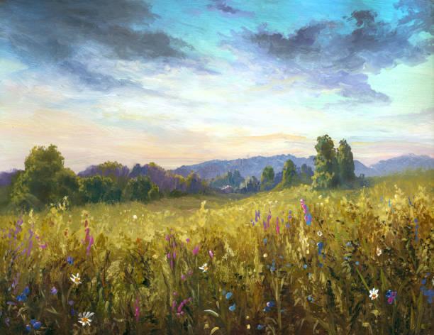 Summer meadow, oil painting vector art illustration