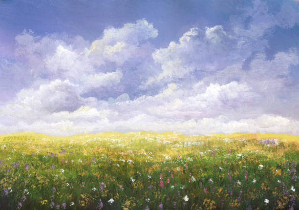 summer meadow, painting - painting activity stock illustrations
