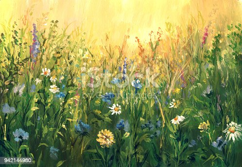 istock Summer meadow, watercolor painting 942144980