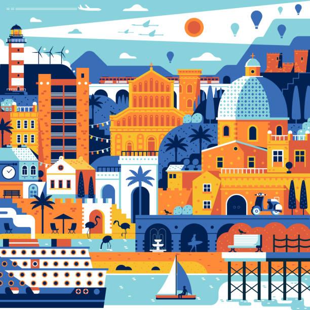 illustrazioni stock, clip art, cartoni animati e icone di tendenza di summer mediterranean town poster - sardegna