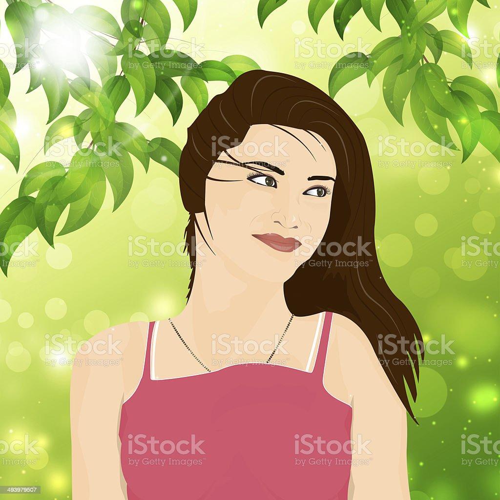 Summer Nature Girl royalty-free stock vector art