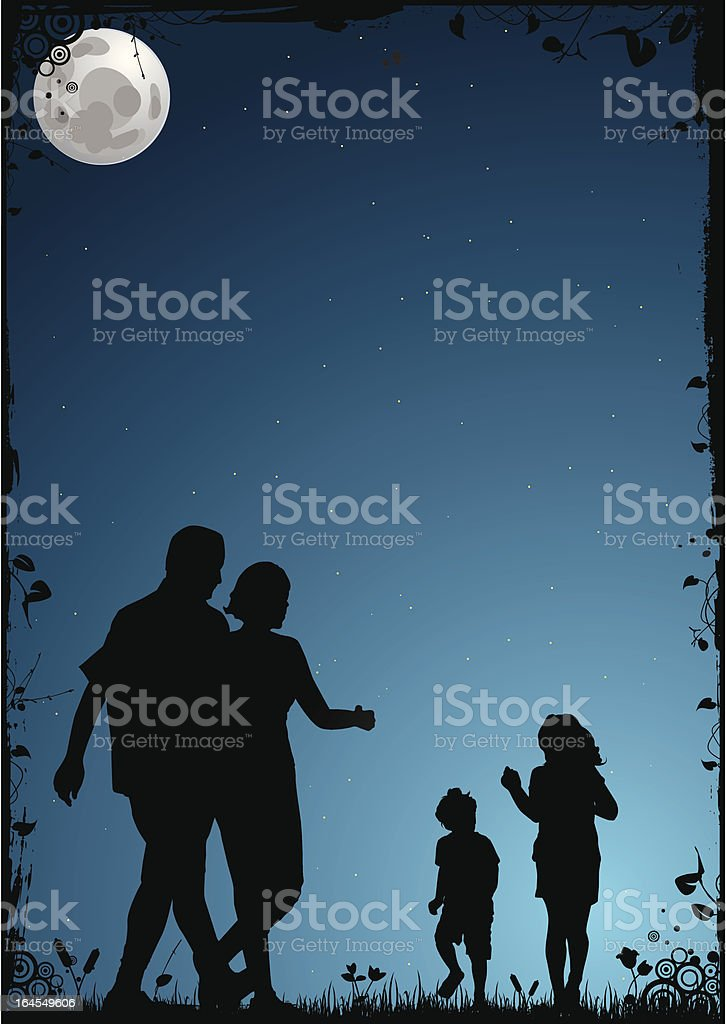 summer night vector art illustration