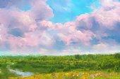 istock Summer oil painting landscape 1305141219