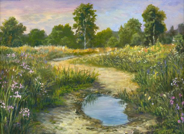 Summer oil painting landscape Summer oil painting landscape, impressionism impressionism stock illustrations