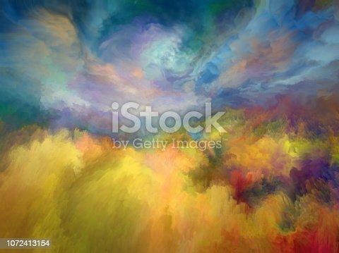 istock Summer oil painting landscape, impressionism 1072413154
